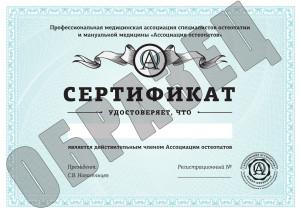 Сертификат члена Ассоциации обладает несколькими степенями защиты: специальная бумага, рельефная печать, специальный способ нанесения регистрационного номера.